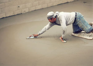 smoothing out the grout in a slab releveling project in Wappingers Falls