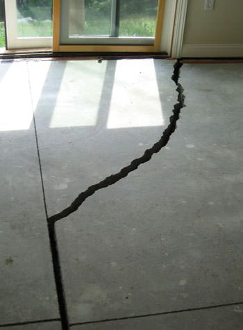 severely cracked foundation slab floor in Goshen