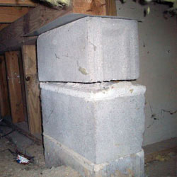 Collapsing crawl space support pillars Stony Point