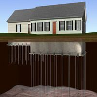 diagram of foundation push piers stabilizing a ranch house foundation.