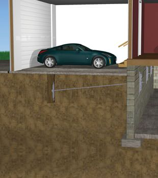 Graphic depiction of a street creep repair in a Goshen home