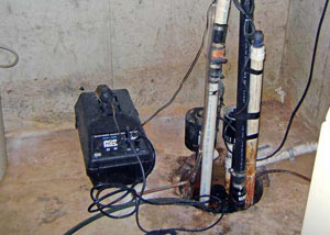 Pedestal sump pump system installed in a home in Beacon