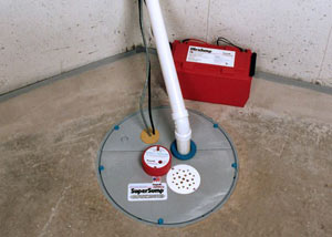 A sump pump system with a battery backup system installed in Port Jervis