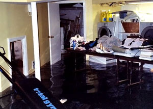 A laundry room flood in Saugerties, with several feet of water flooded in.