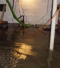 Several feet of floodwaters in a Monticello basement
