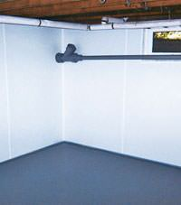 Plastic basement wall panels installed in a Nanuet, New York home