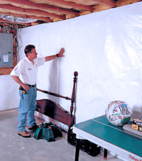 Plastic 20-mil vapor barrier for dirt basements, Nanuet, New York installation