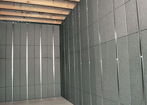 SilverGlo™ insulation and metal studs making up our Basement to Beautiful panels.  Installed in Monroe.